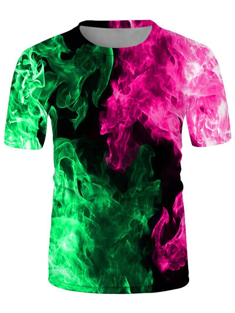 Fire Print Crew Neck Short Sleeve Tee - multicolor A XL