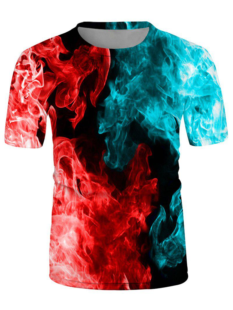 Fire Print Crew Neck Short Sleeve Tee - multicolor B L