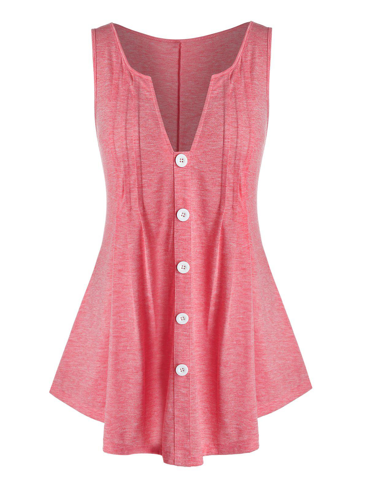 Plus Size V Cut Buttoned Tunic Tank Top - PINK 5X