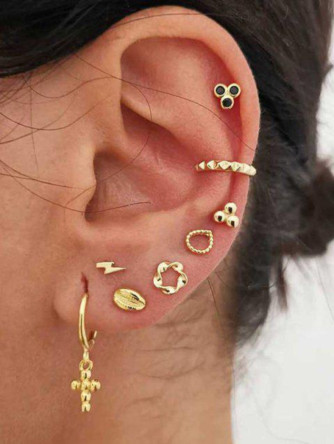 Cross Floral Stud And Ear Cuff Earring Set