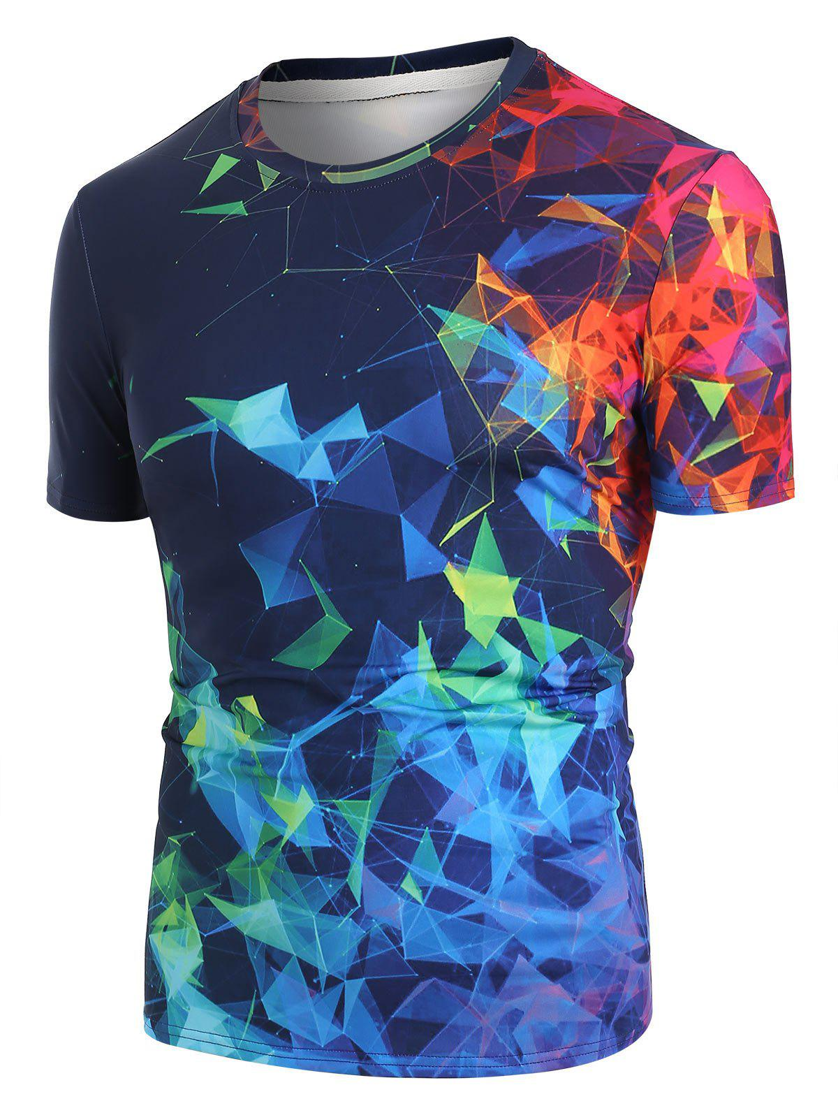 Colorful Geometric 3D Print Short Sleeve T-shirt - BLACK M