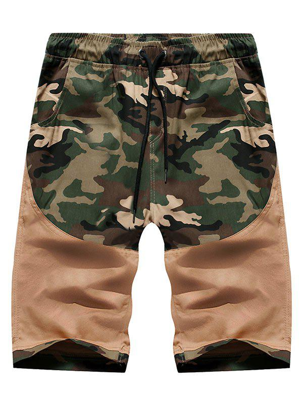 Camo Spliced Print Casual Shorts - TAN S