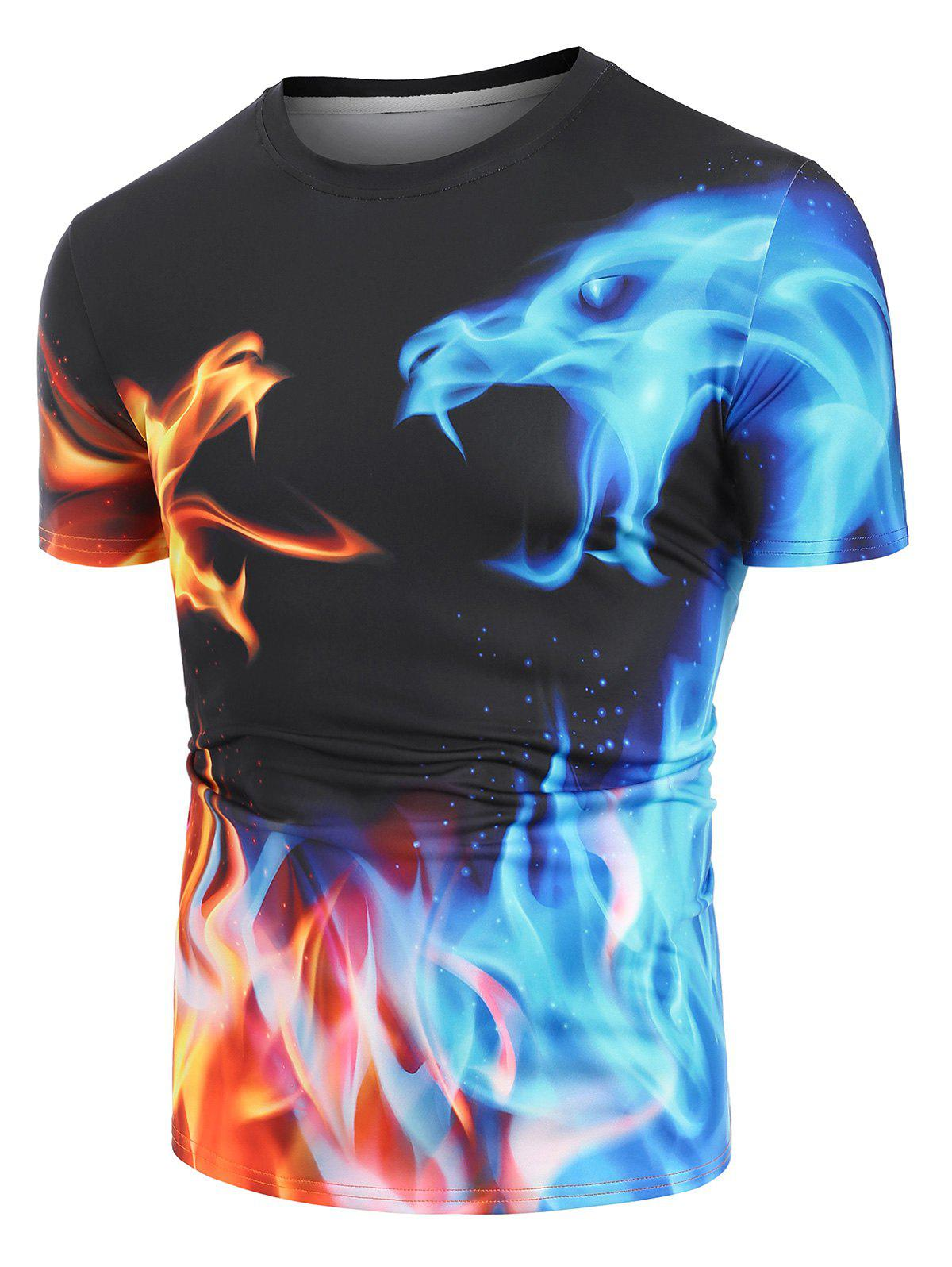 Fire and Ice Dragon Graphic Basic T-shirt - BLACK M
