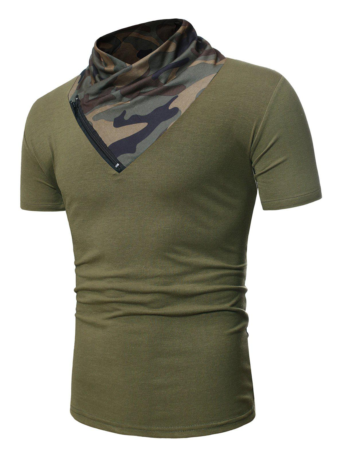Short Sleeves Camo Panel Tee with Zipper - ARMY GREEN XS