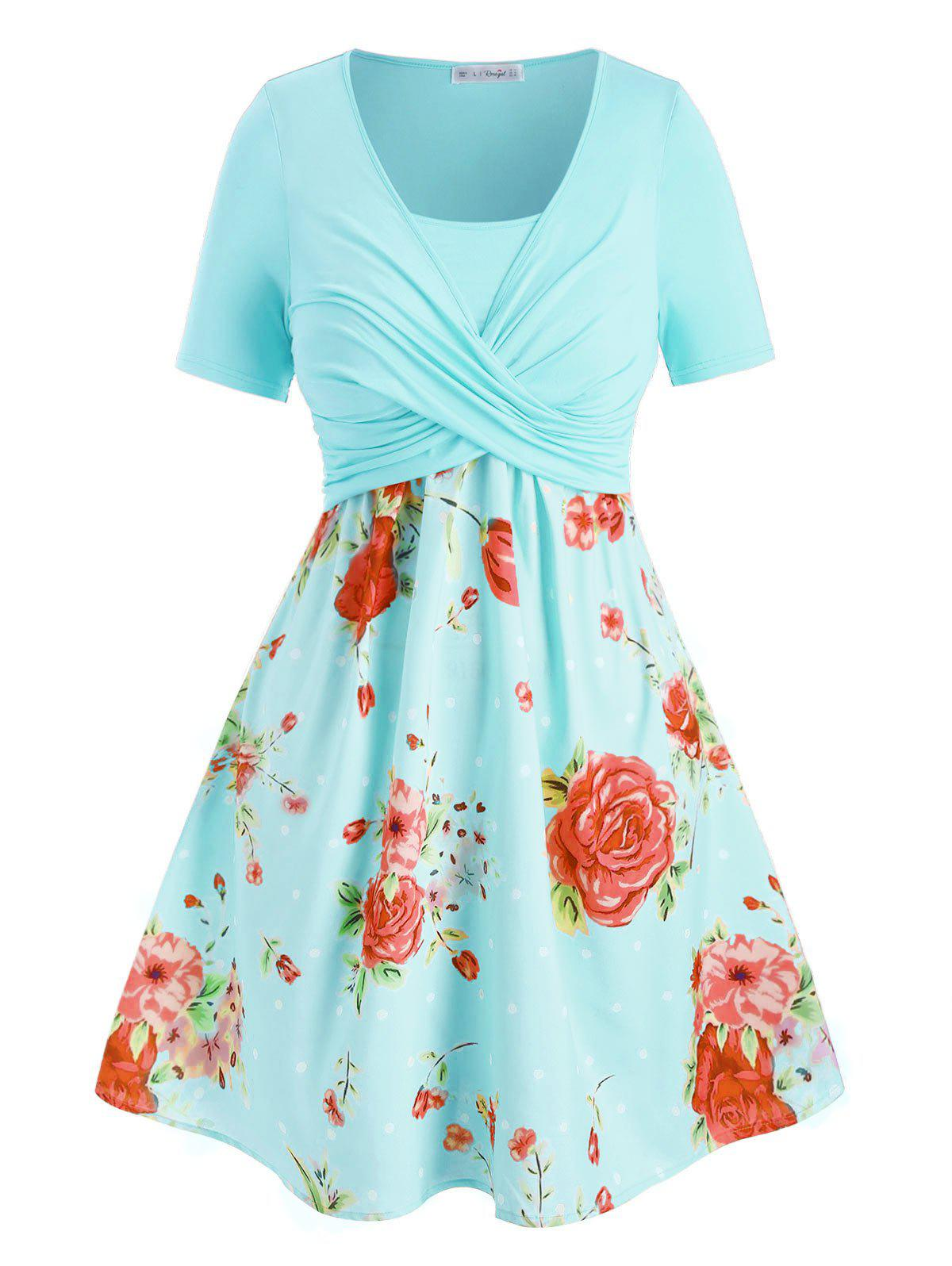 Plus Size Crossover Floral Print Dress - ROBIN EGG BLUE 2X