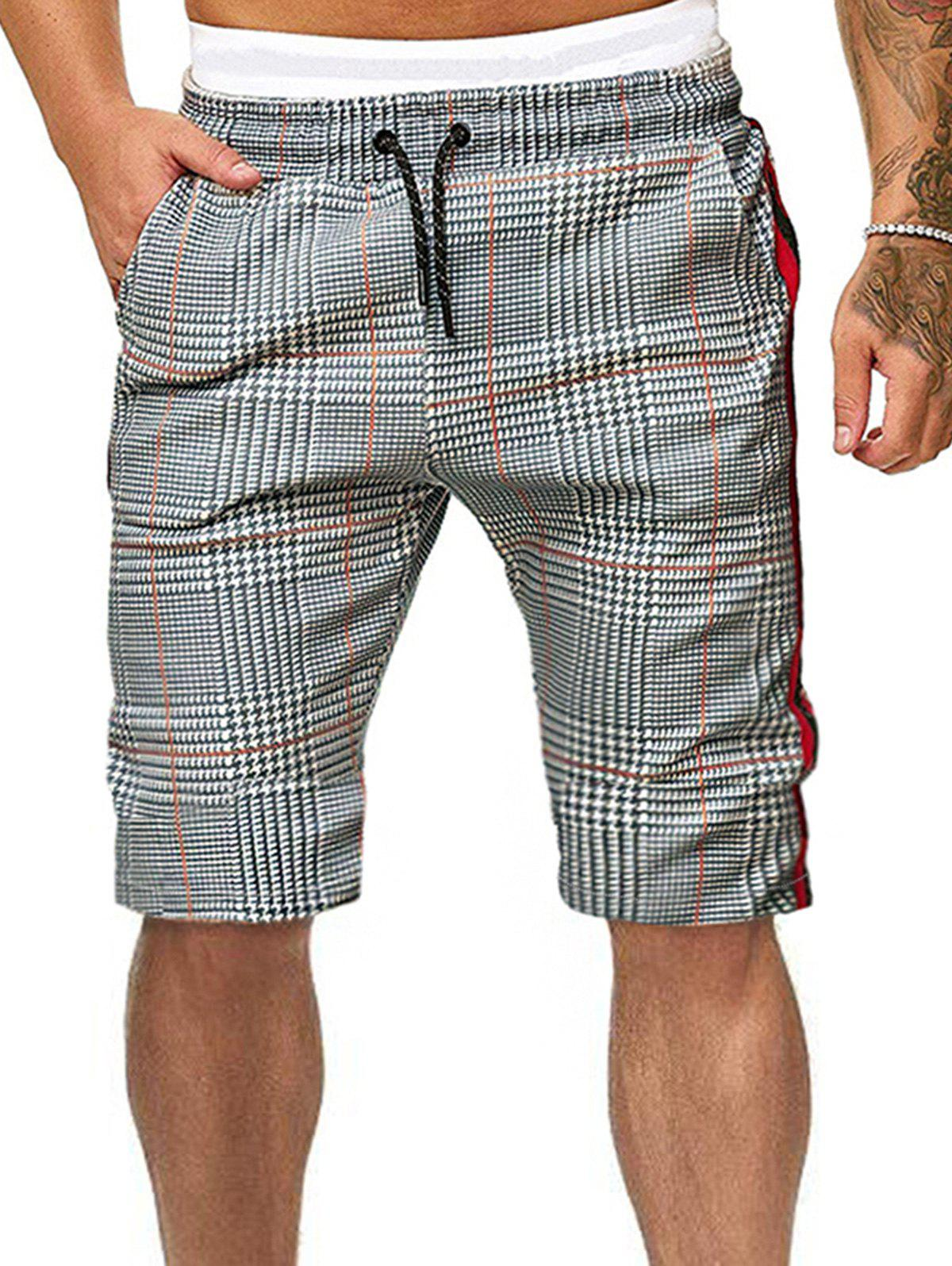 Side Striped Houndstooth Print Drawstring Casual Shorts - multicolor M