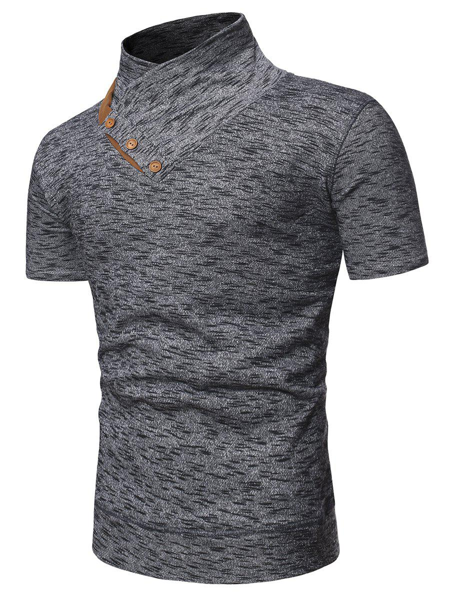 Buttons Shawl Collar Marled Tee - GRAY 2XL