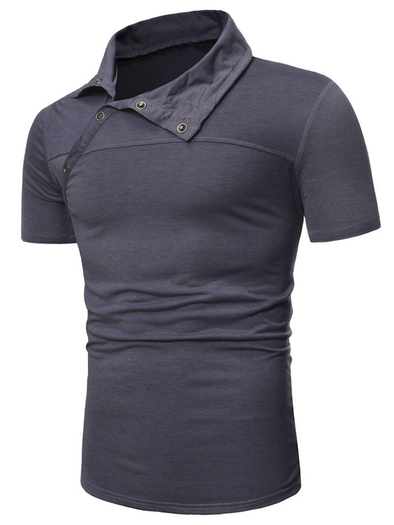 Half Button Short Sleeve Casual T-shirt - GRAY S