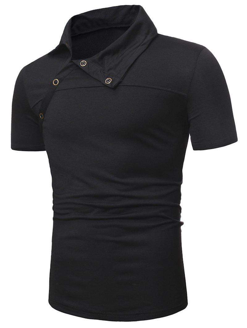 Half Button Short Sleeve Casual T-shirt - BLACK L