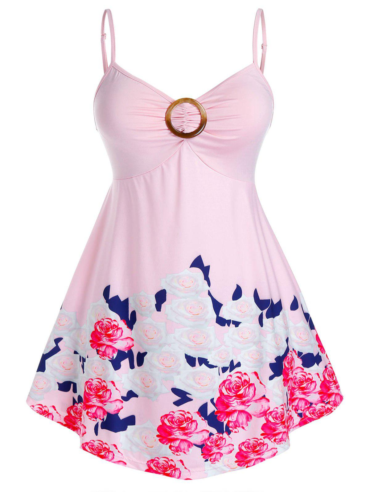 Plus Size Flower Print Ring Ruched Cami Tank Top - PINK 5X