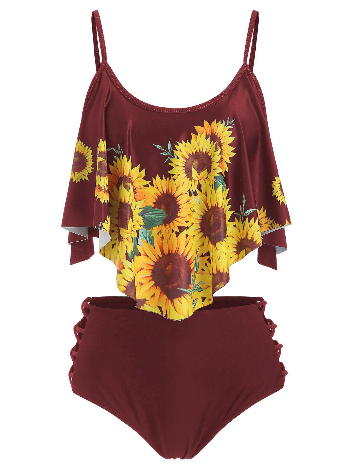 Flounce Lattice Sunflower Tankini Swimsuit - RED WINE L