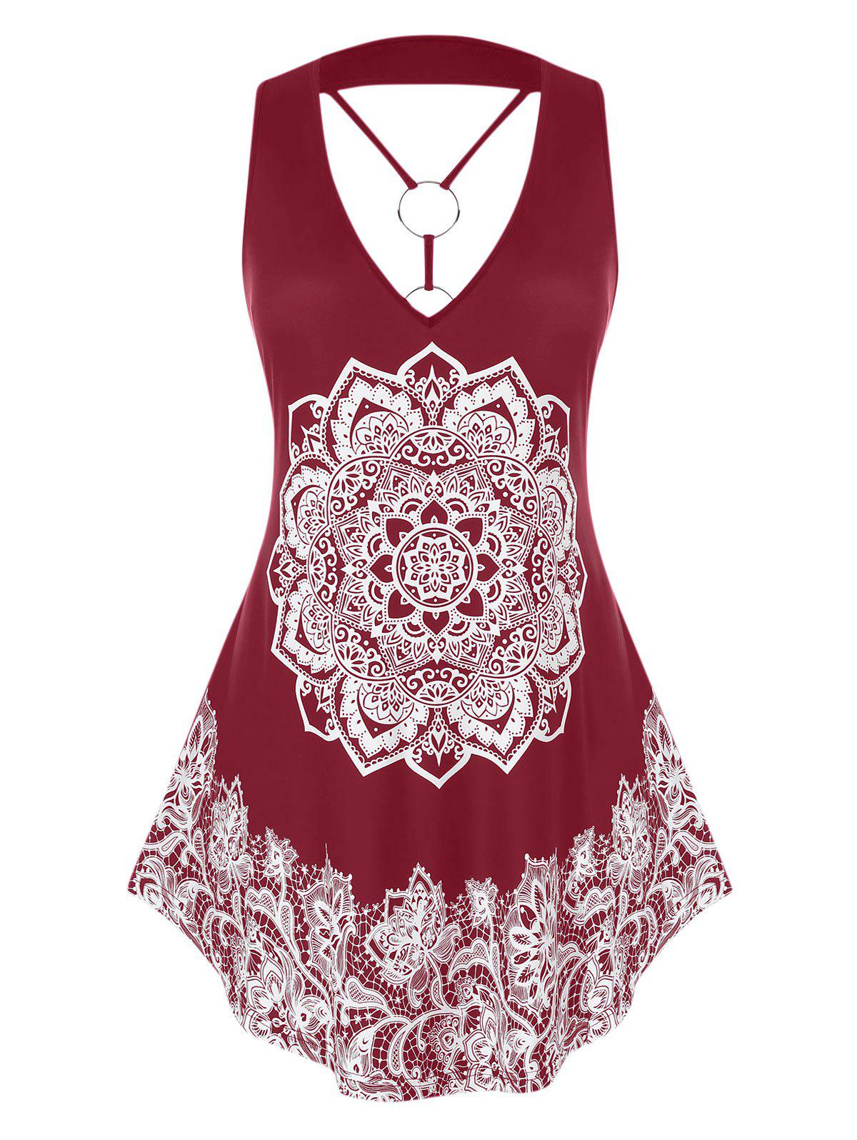 Plus Size Tribal Print O Ring Tank Top - RED WINE L