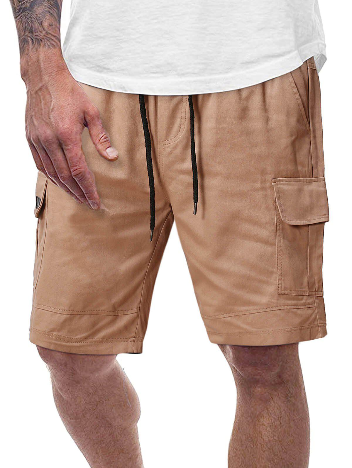 Pure Color Flap Pockets Casual Cargo Shorts - FALL LEAF BROWN S