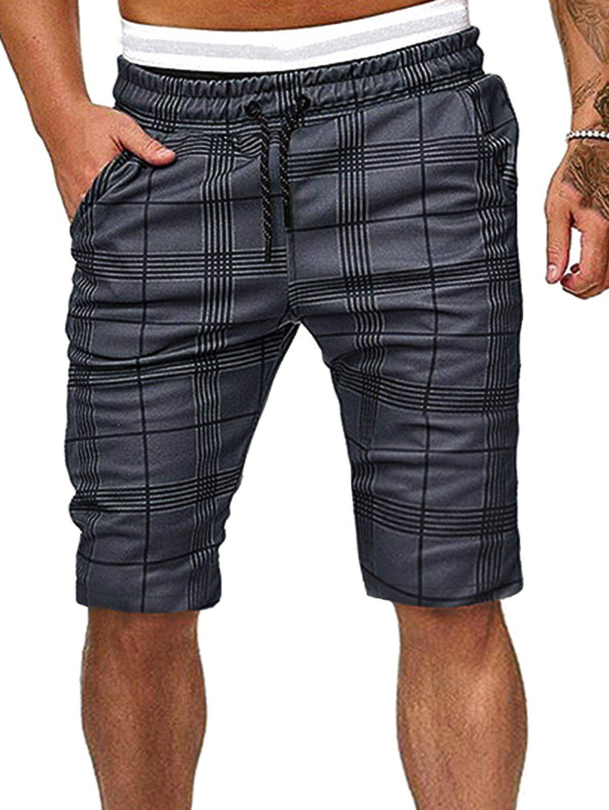 Grid Print Drawstring Fifth Shorts - GRAY S
