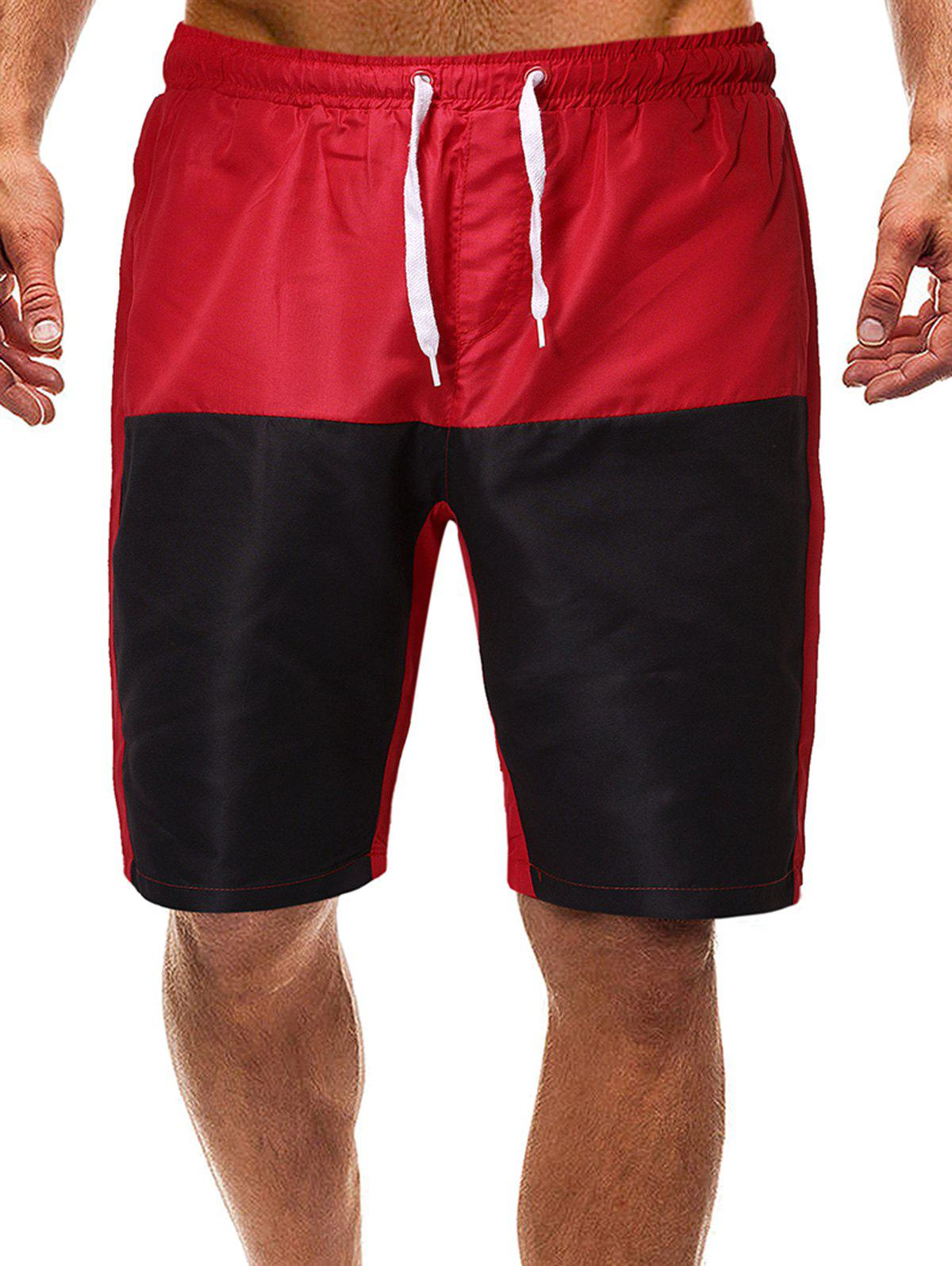 Contrast Color Drawstring Lounge Shorts - RED L