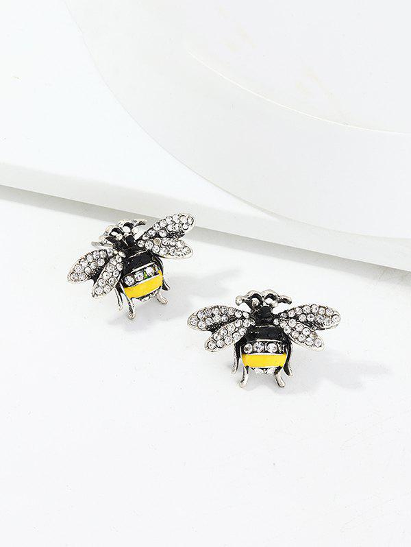 Full Rhinestone Honey Bee Stud Earrings - SILVER