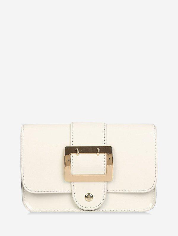 Square Buckled Flap Chain Crossbody Bag - CRYSTAL CREAM