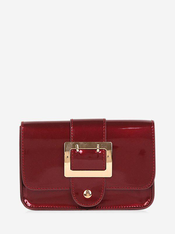 Square Buckled Flap Chain Crossbody Bag - RED