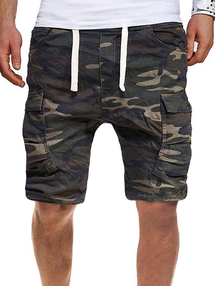 Drawstring Camo Cargo Shorts with Pocket - WOODLAND CAMOUFLAGE 2XL