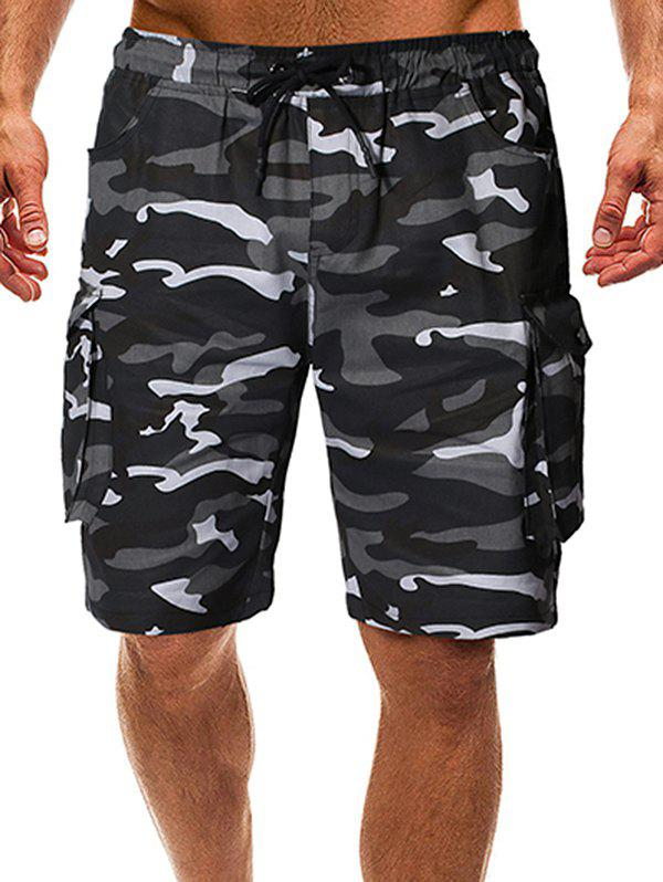 Drawstring Camo Cargo Shorts with Pockets - ACU CAMOUFLAGE S