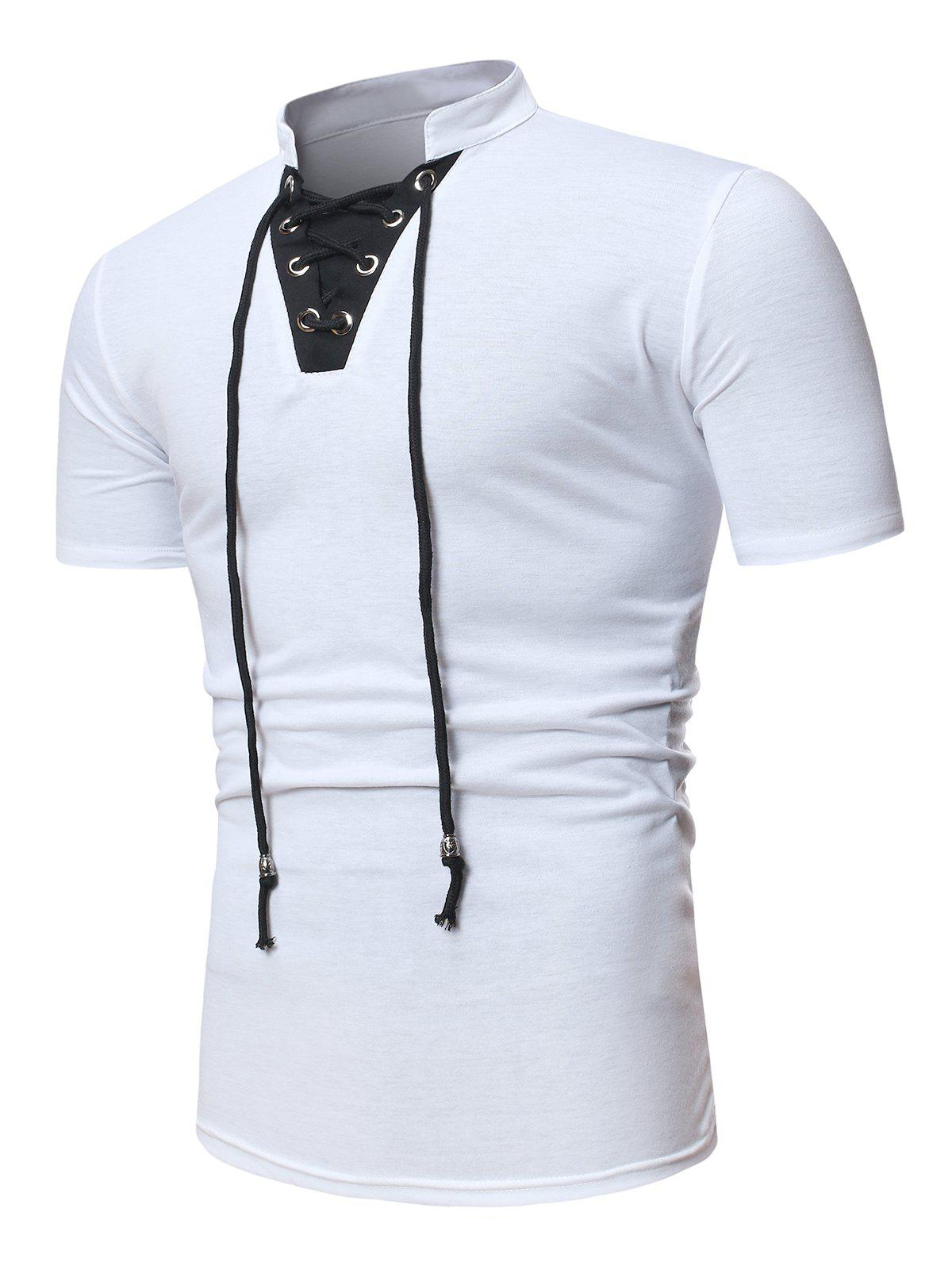 Short Sleeve Lace-up Contrast T-shirt - WHITE M