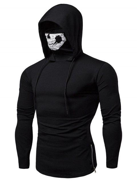 Skull Mask Drawstring Zip Hem Hooded T Shirt