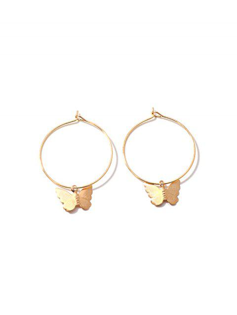 Butterfly Pendant Alloy Hoop Earrings