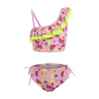 Watermelon Fruit Print Ruffle Girls Bikini Swimwear