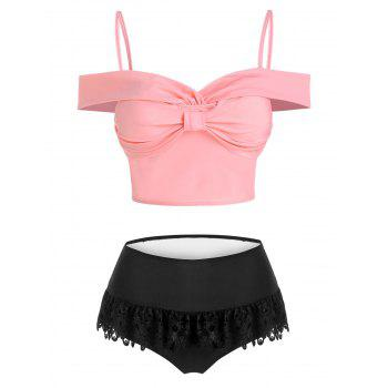 Bow Detail Lace Insert Padded Two Piece Swimsuit