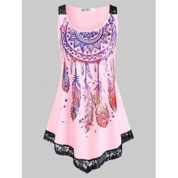 Plus Size Feather Print Lace Insert Tank Top