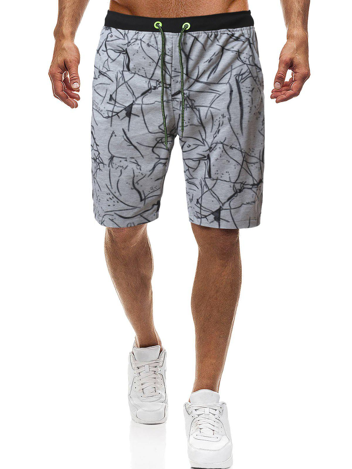 Irregular Print Drawstring Shorts - GRAY M