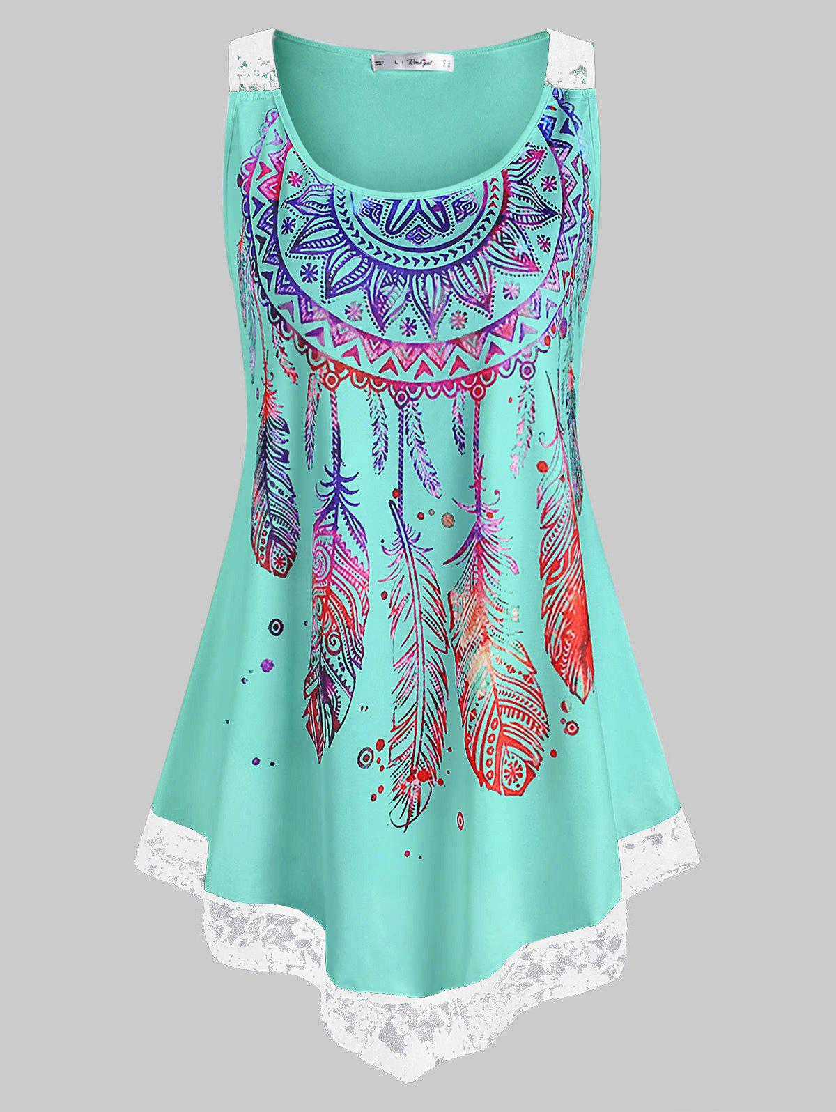 Plus Size Lace Insert Feather Print Tank Top - MACAW BLUE GREEN 2X