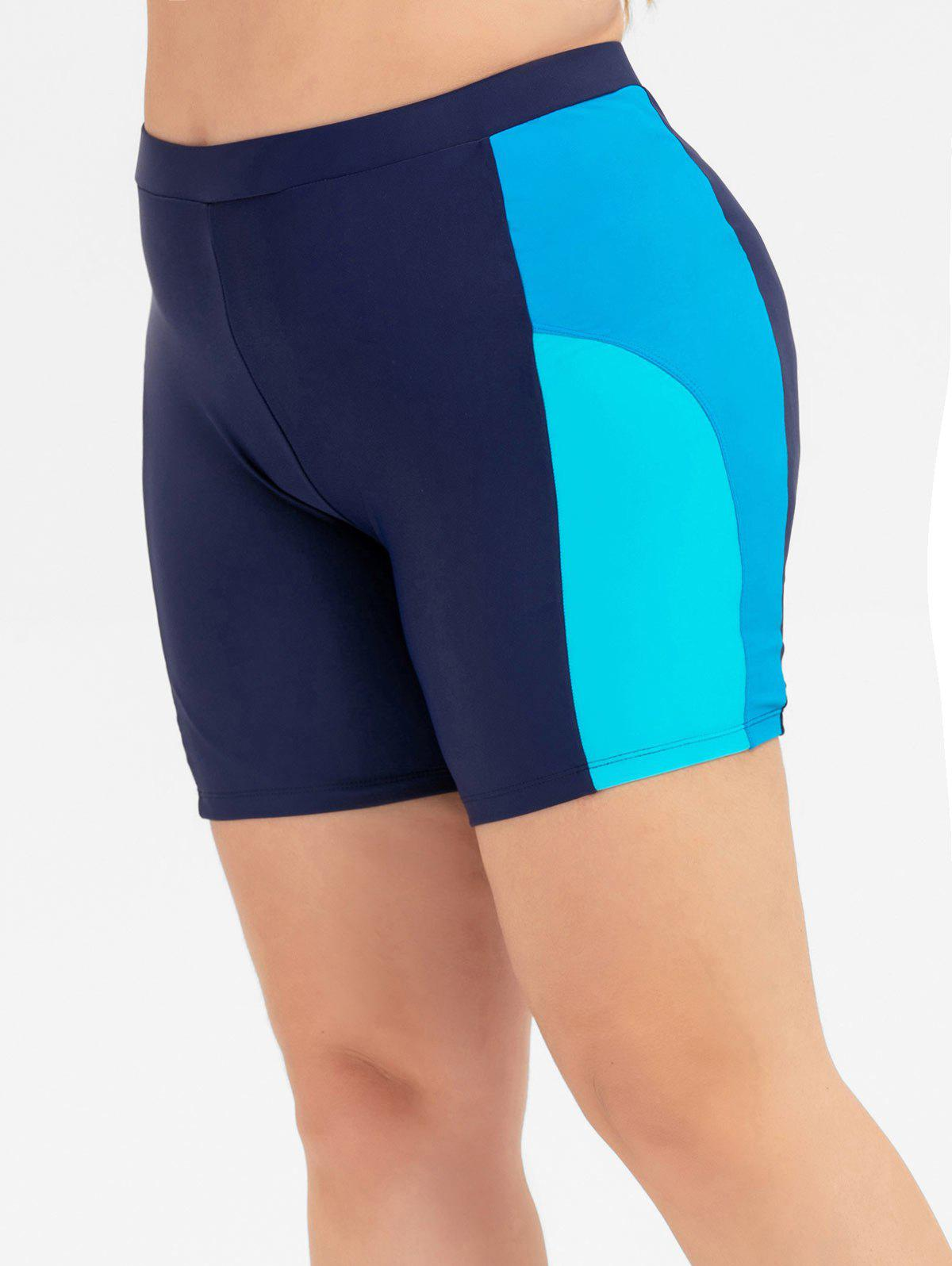 Colorblock Plus Size Swim Shorts - BLUE L