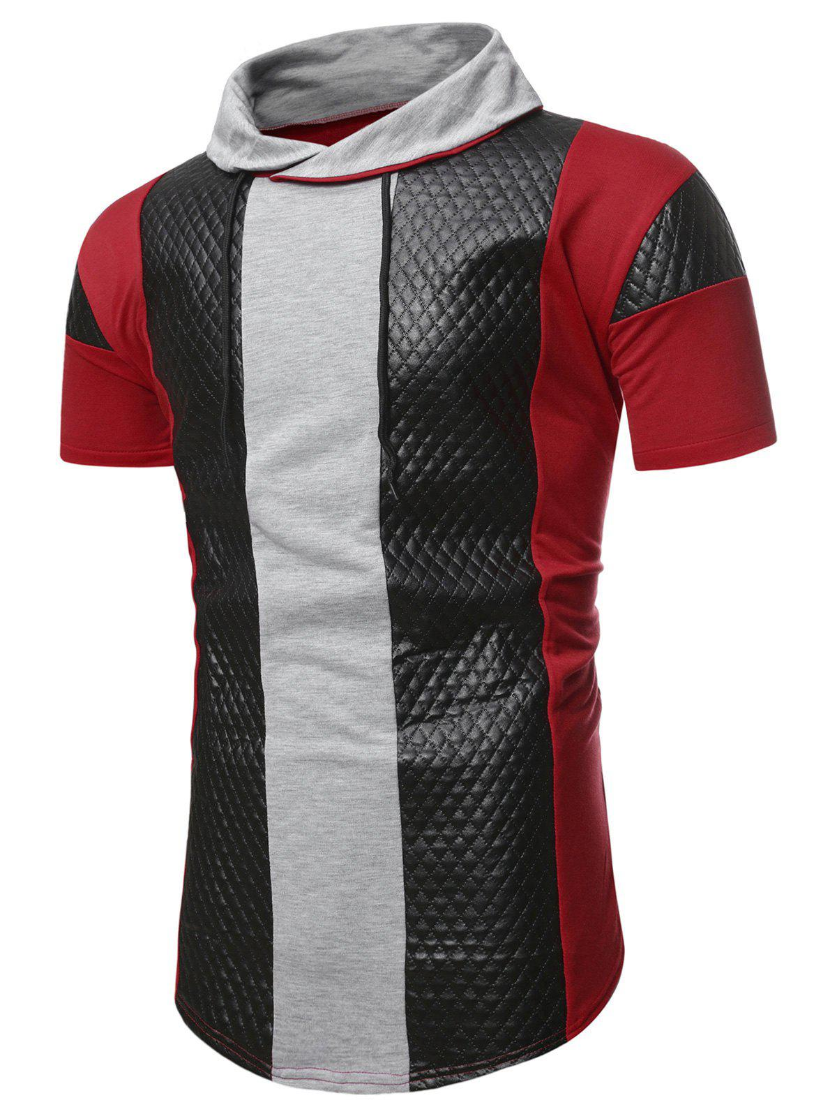 Colorblock Quilted Shawl Collar Short Sleeve T Shirt - RED L