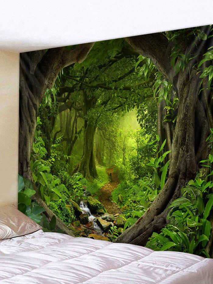 Forest Path 3D Print Wall Tapestry - MEDIUM FOREST GREEN W91 X L71 INCH