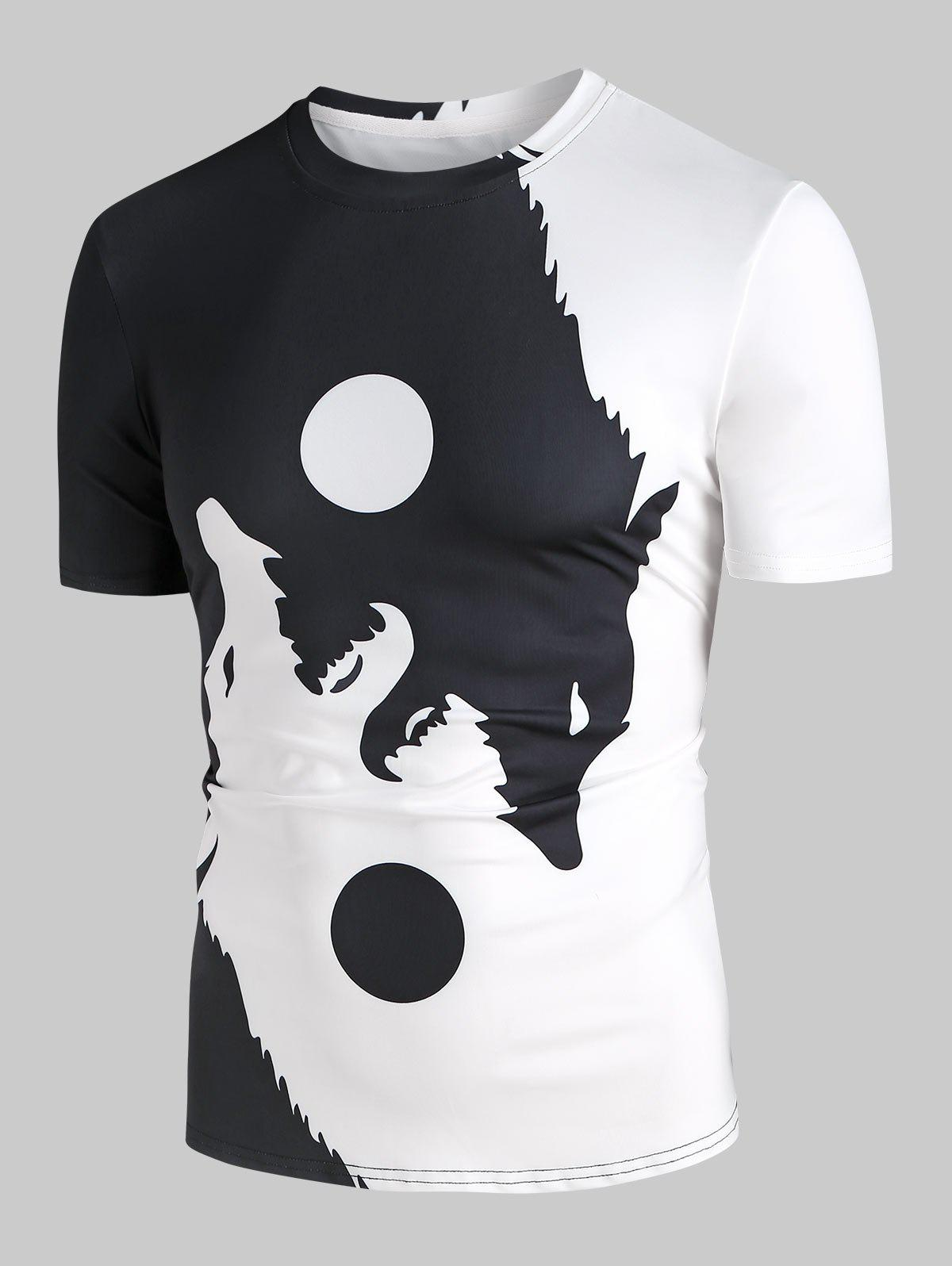 Ying Yang Wolf Moon Graphic T-shirt - BLACK XL