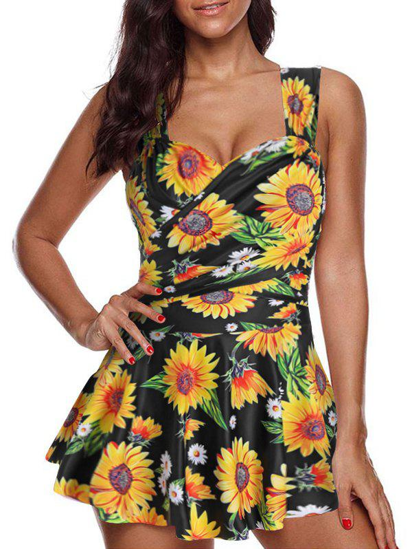 Sunflower Print Crossover One-piece Swimdress - BLACK 3XL