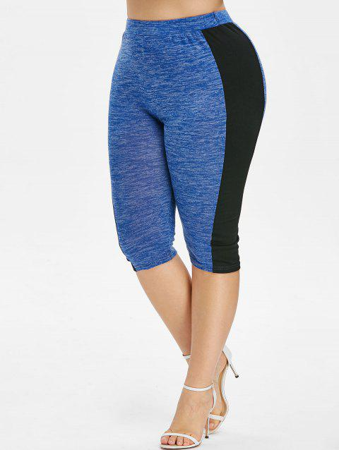 Plus Size Contrast Trim Marled Cropped Leggings