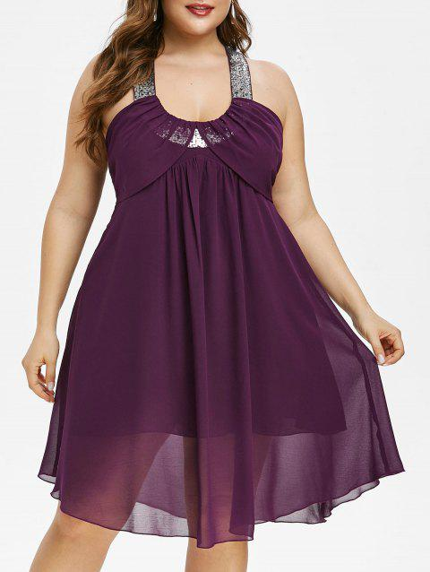 Plus Size Sparkly Sequined Chiffon Backless Dress