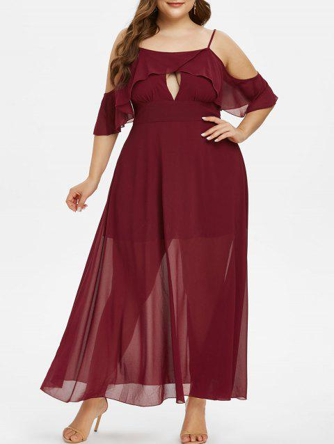 Plus Size Chiffon Cold Shoulder Flounce Long Party Dress