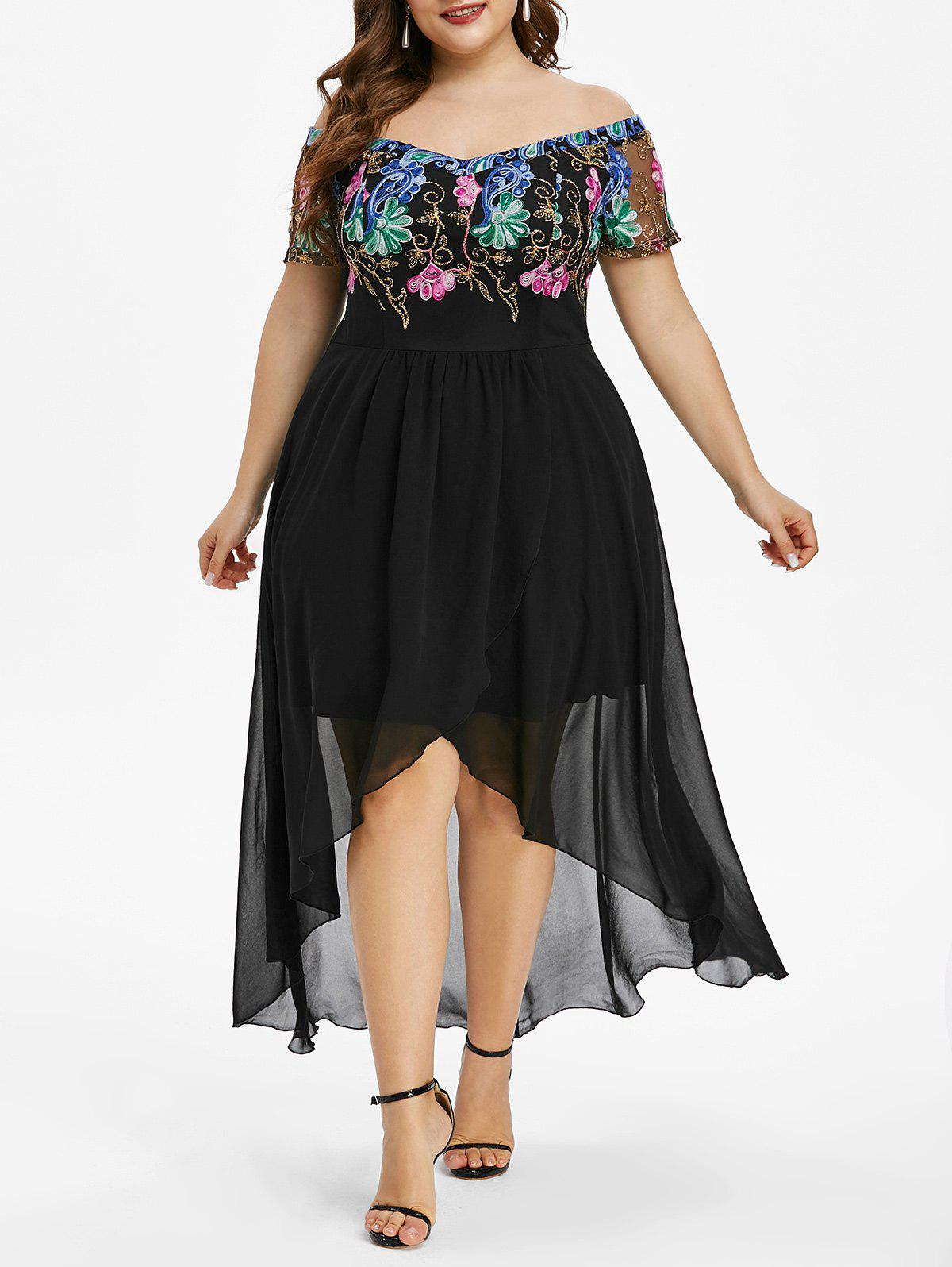 Plus Size Off The Shoulder Embroidered High Low Party Dress - BLACK 3X