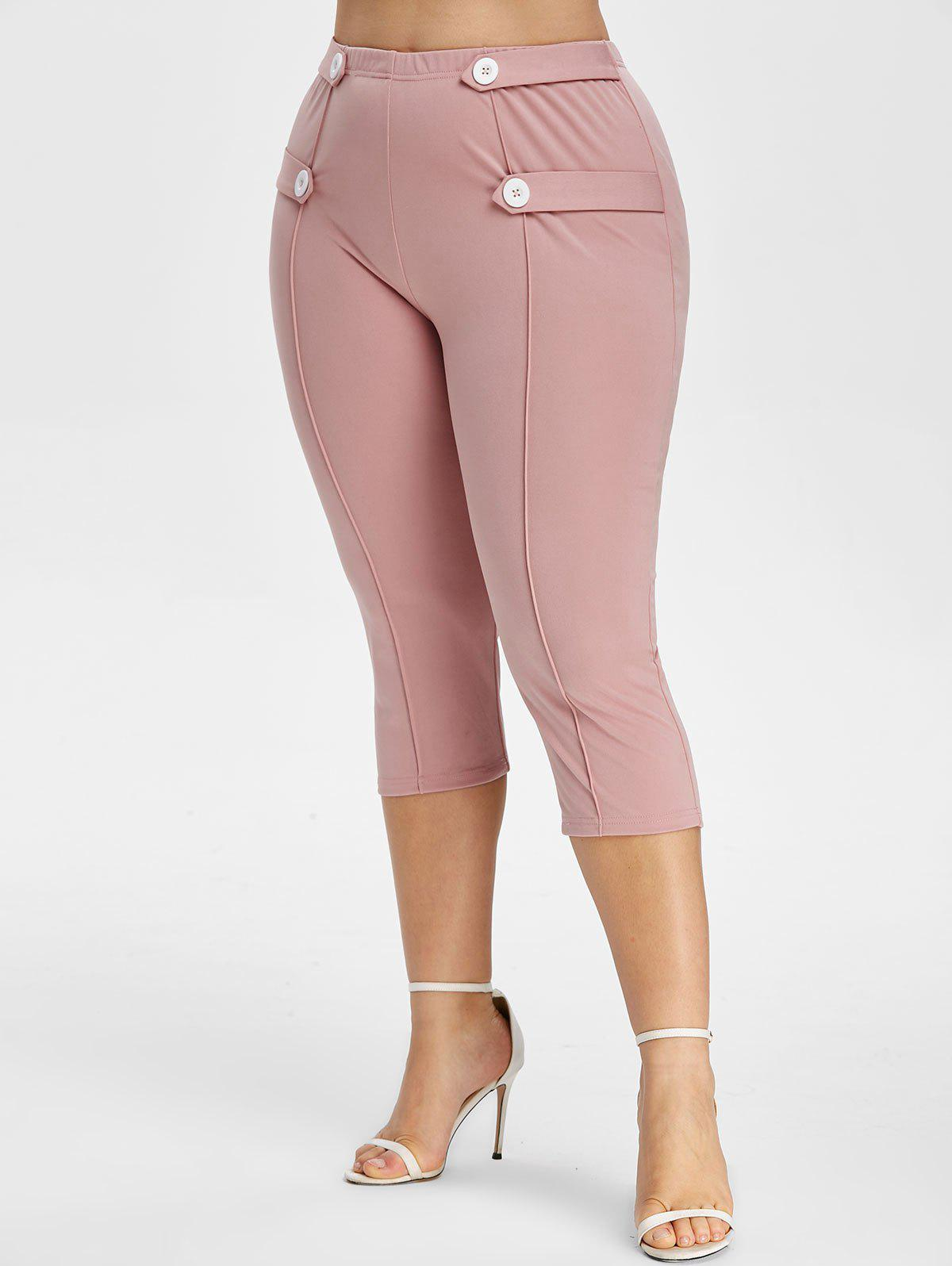 Plus Size Button Strap Tapered Capri Pants - LIGHT PINK 4X