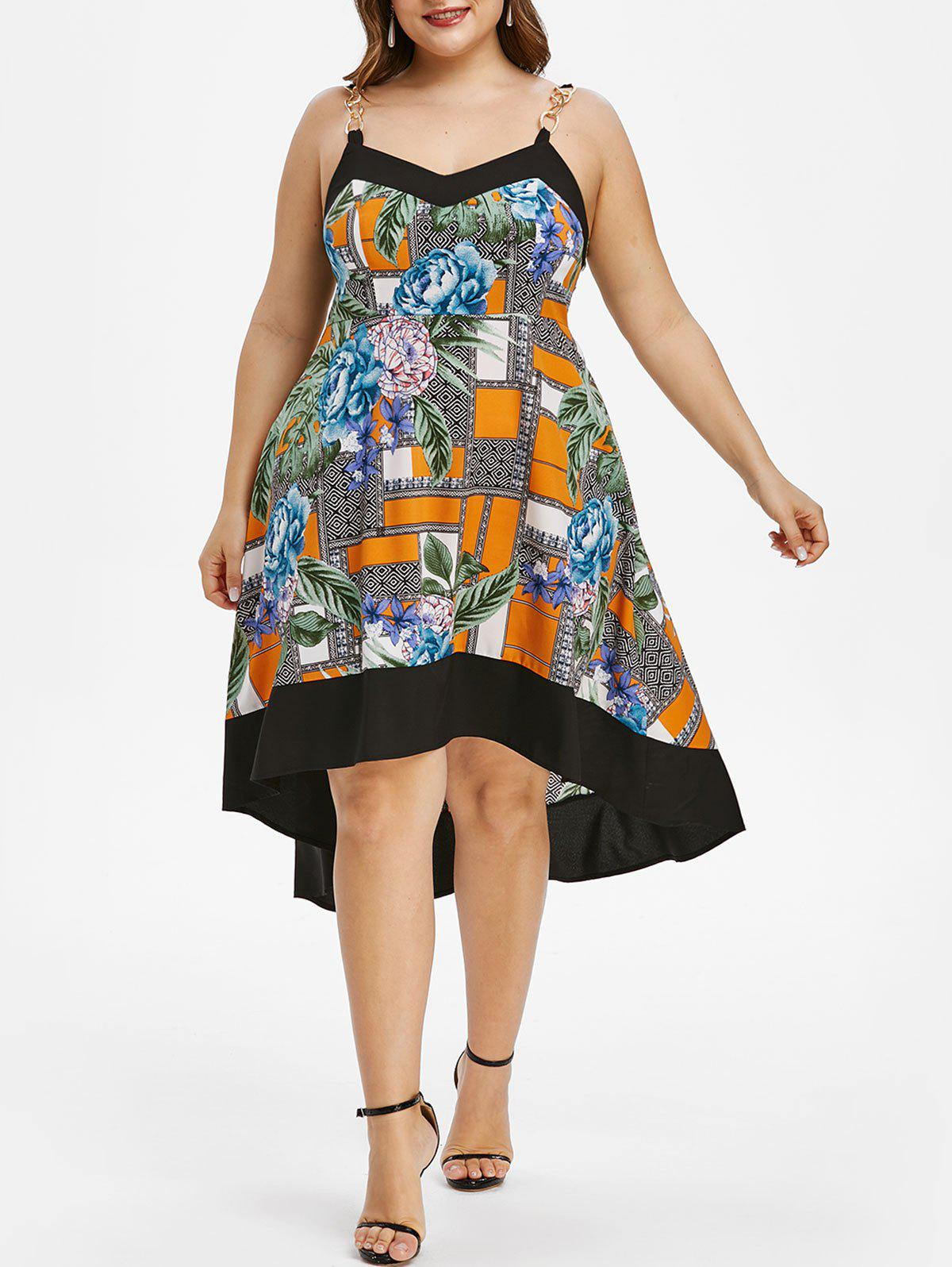 Plus Size Sleeveless High Low Floral Print Dress - multicolor 2X