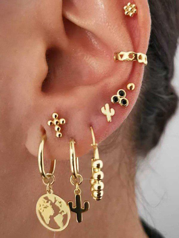 9Pcs Hollow Map Cactus Stud Earrings Set - GOLD