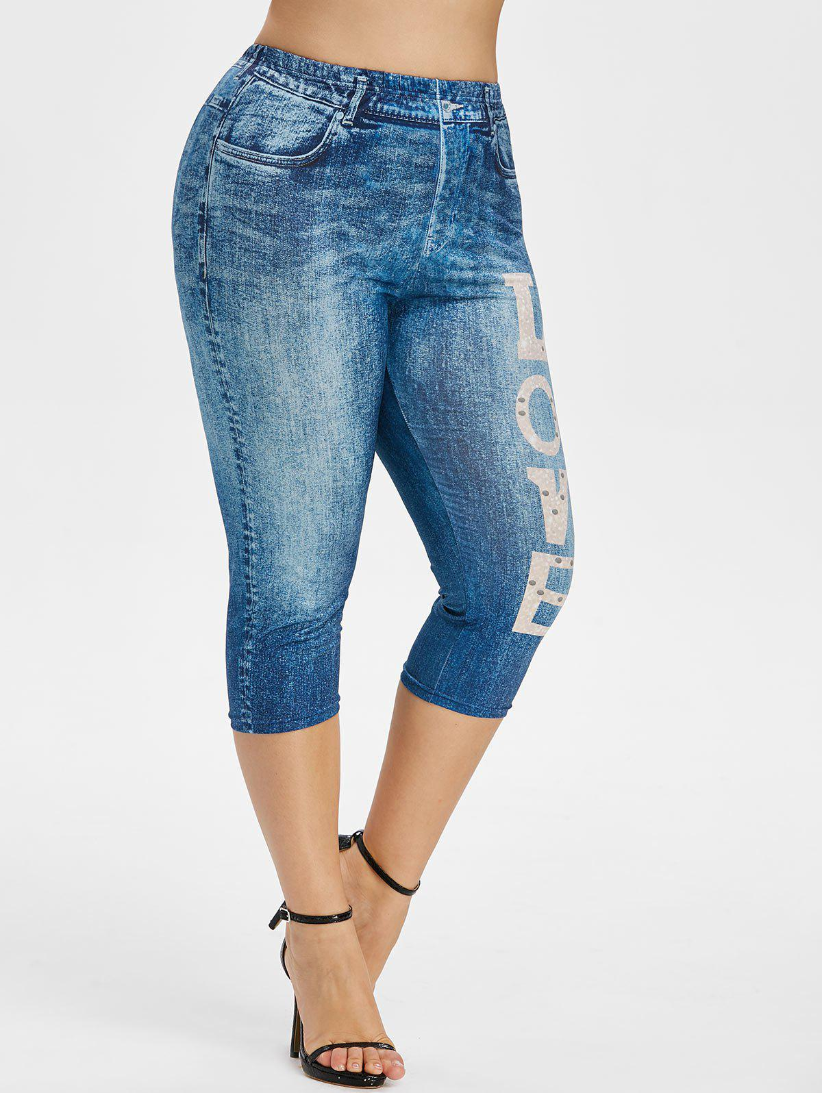 Plus Size 3D Jean Print Graphic Cropped Leggings - DENIM DARK BLUE 2X