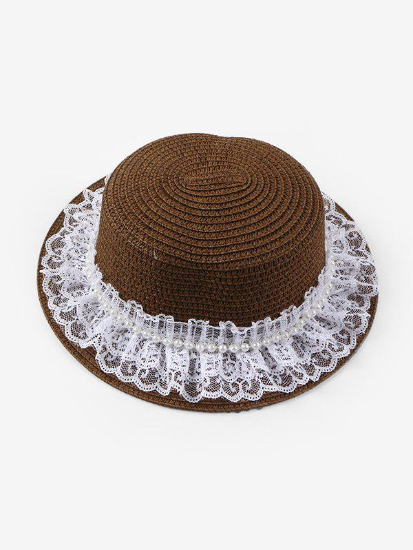 Beach Faux Pearl Lace Straw Hat - COFFEE