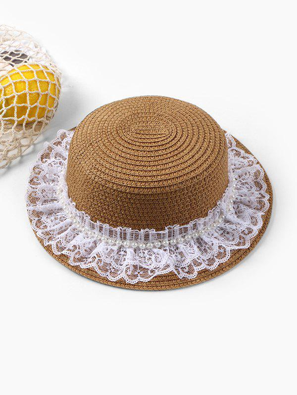 Beach Faux Pearl Lace Straw Hat - BROWN