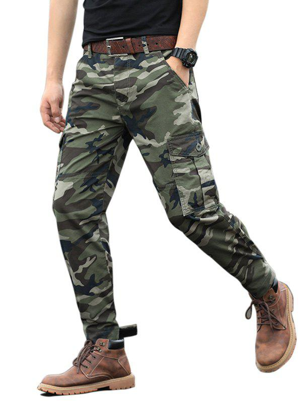 Camouflage Print Zip Fly Cargo Jogger Pants - CAMOUFLAGE GREEN 32