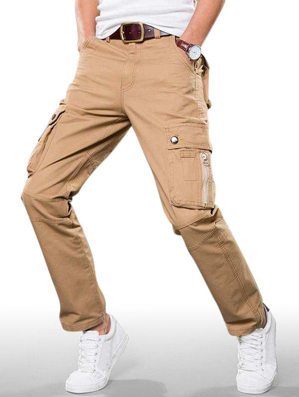 Plain Zip Fly Cargo Straight Pants - KHAKI 32