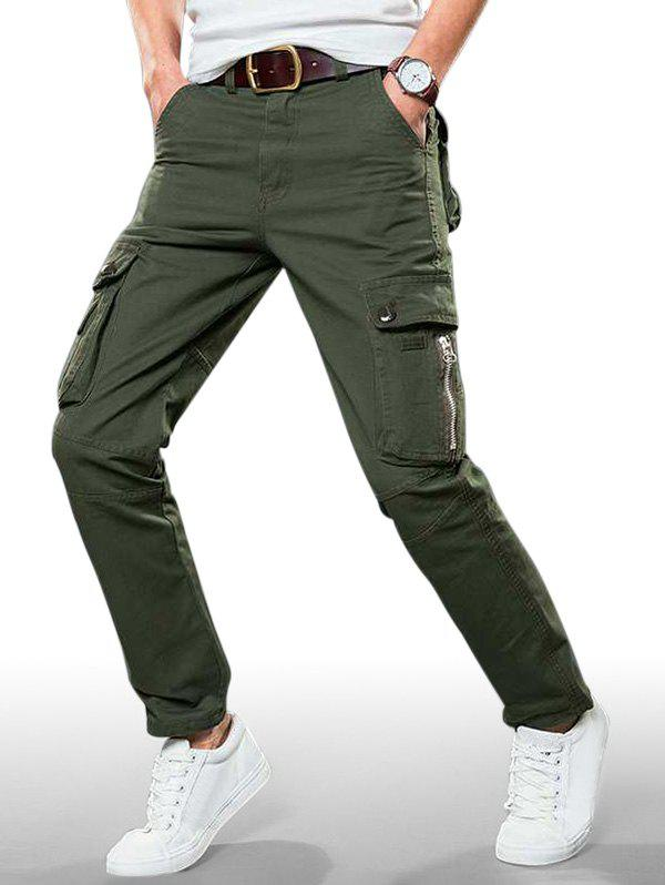 Plain Zip Fly Cargo Straight Pants - ARMY GREEN 34